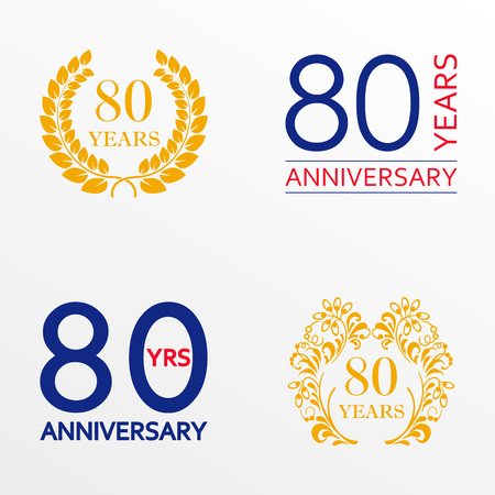 80 years anniversary set. Anniversary icon emblem or label collection. 80 years celebration and congratulation decoration element. Vector illustration. Stock Illustratie