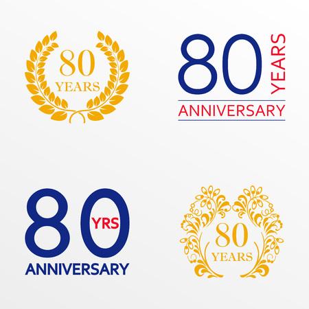 80 years anniversary set. Anniversary icon emblem or label collection. 80 years celebration and congratulation decoration element. Vector illustration. Ilustração