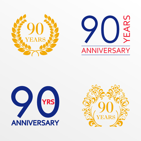90 years anniversary set. Anniversary icon emblem or label collection. 90 years celebration and congratulation decoration element. Vector illustration.