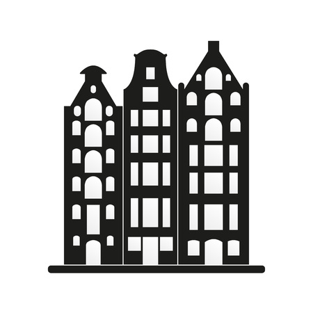 Old buildings icon. Amsterdam, Holland, Netherlands architecture. European houses, building. Vector illustration.