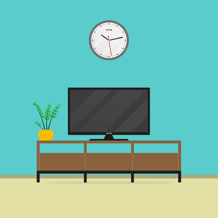 Living room interior with flat screen TV and TV stand. Vector illustration.