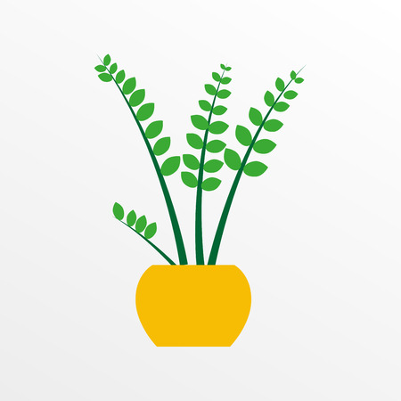 Houseplant in a pot in flat style. Indoor plant icon. Vector illustration.  イラスト・ベクター素材