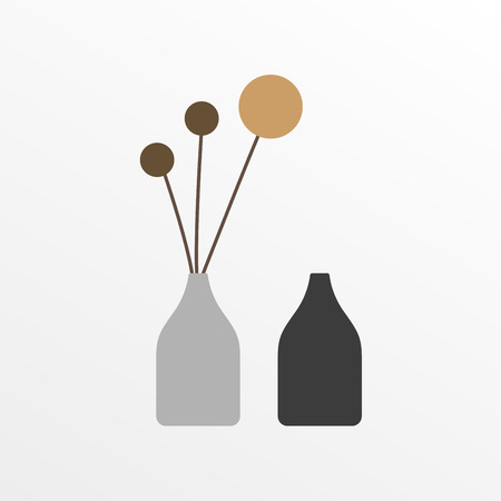 Modern vases in flat style. 2 vases icon. Vector illustration.