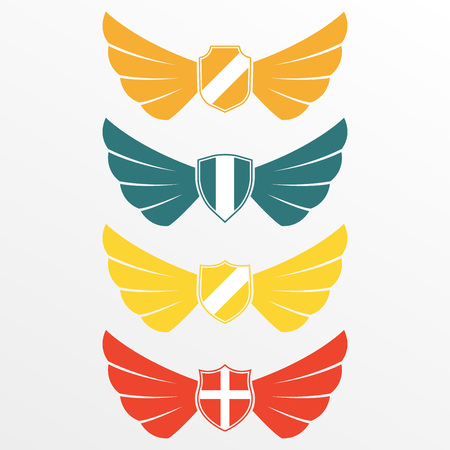 Wings icon set with shields isolated on white background. Wing emblem or label. Vector illustration.