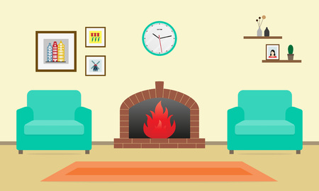 Living room interior with fireplace and two armchairs in flat style. Vector illustration.