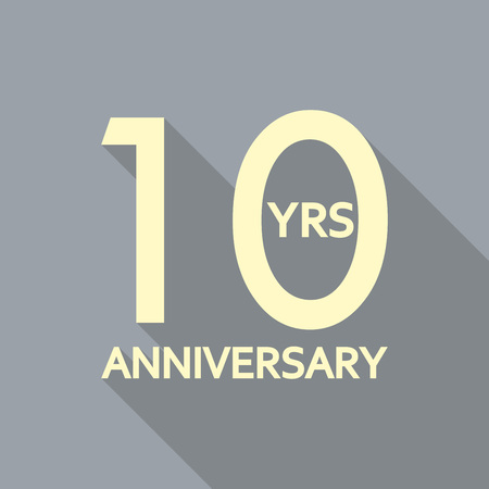 10 years anniversary icon. Anniversary decoration template. Celebrating and birthday emblem. Vector illustration.