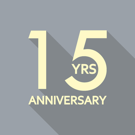 15 years anniversary icon. Anniversary decoration template. Celebrating and birthday emblem. Vector illustration.