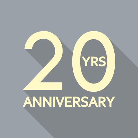 20 years anniversary icon. Anniversary decoration template. Celebrating and birthday emblem. Vector illustration.