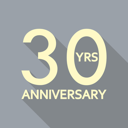 30 years anniversary icon. Anniversary decoration template. Celebrating and birthday emblem. Vector illustration.