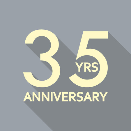 35 years anniversary icon. Anniversary decoration template. Celebrating and birthday emblem. Vector illustration.