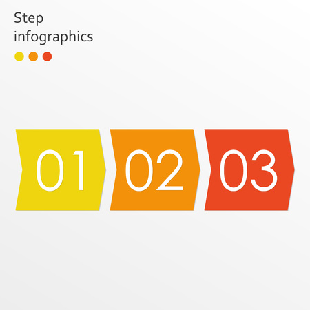 Infographics template with 3 steps, options or levels. Business infographic concept with arrows. Vector illustration.  イラスト・ベクター素材