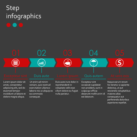 Infographics template with 5 steps, options or levels. Business infographic concept with 5 arrows. Vector illustration.
