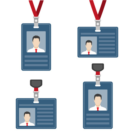 ID card, badge or access card set. Lanyard with badge collection. Vector illustration.  イラスト・ベクター素材