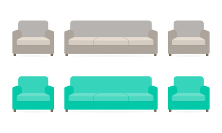 Sofa and armchairs isolated on white background. Furniture icon. Vector illustration.