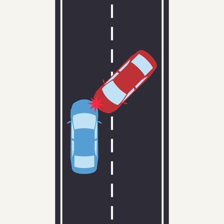 Car accident on the road. Two car crashes on the highway. Vector illustration. Vettoriali