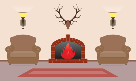 Living room interior with fireplace, armchairs and deer antlers on the wall in flat style. Vintage design. Vector illustration.
