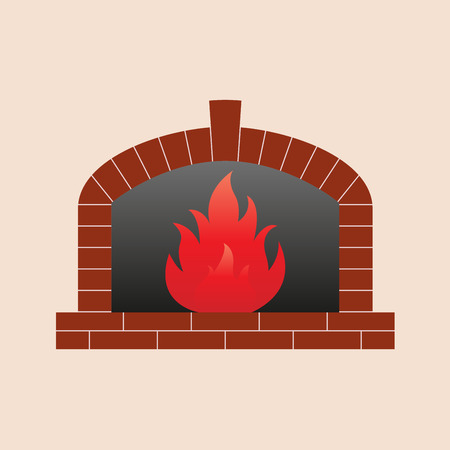 Fireplace icon. Vector illustration.