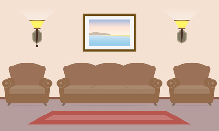 Room interior with sofa, two chairs and picture on the wall in flat style. Vintage interior design. Vector illustration.