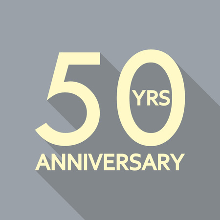 50 years anniversary icon. Anniversary decoration template. Celebrating and birthday emblem. Vector illustration.