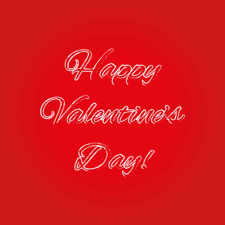Happy Valentines Day hand drawing lettering isolated on red background. Vector illustration.