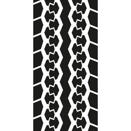 Tire tread or track isolated on white background. Tire print. Vector illustration. Illustration