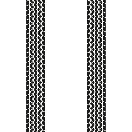 Battistrada o tracce di pneumatici isolati su sfondo bianco. Stampa di pneumatici. Illustrazione vettoriale.