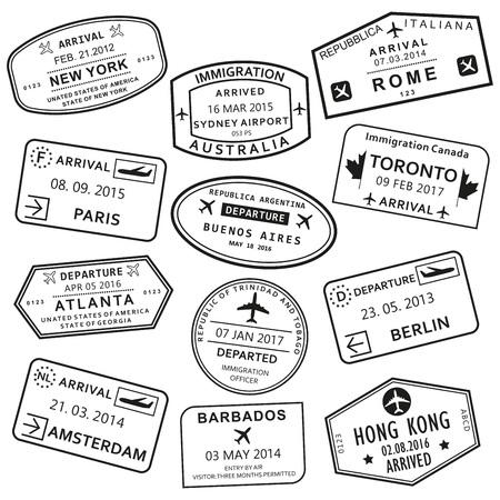 Jeu de tampons de passeport personnalisé et de voyage. Timbres de visa de l'aéroport international. Illustration vectorielle.