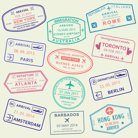 Custom and travel passport stamp set. International Airport stamps. Vector illustration. Ilustração