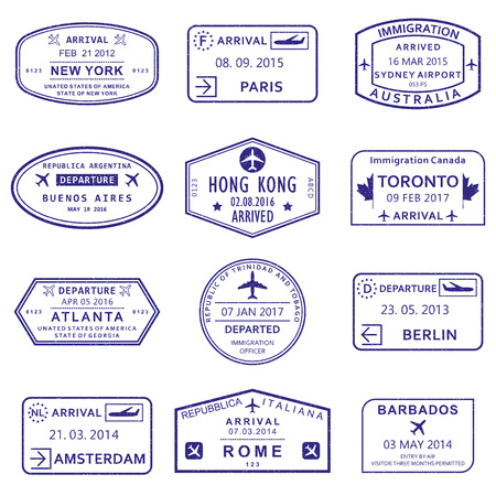 Arrival and Departure stamps from passport. Vector illustration. Vector Illustration