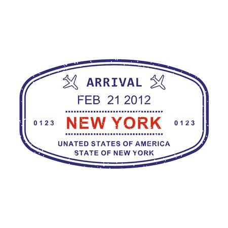New York arrival stamp from passport. New York travel stamp. Airport sign. Vector illustration. Standard-Bild - 115776320