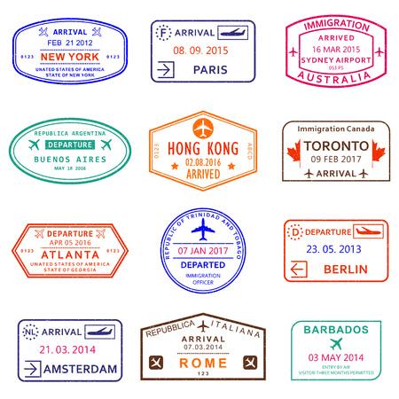 Passport stamps with New York, Amsterdam, Toronto, Sydney, Paris, Berlin, Hong Kong and Rome airports. Vector illustration. Standard-Bild - 115776325