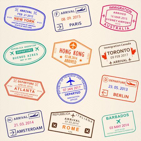 Arrival and Departure stamps from passport. International travel symbols. Vector illustration. Standard-Bild - 115776330