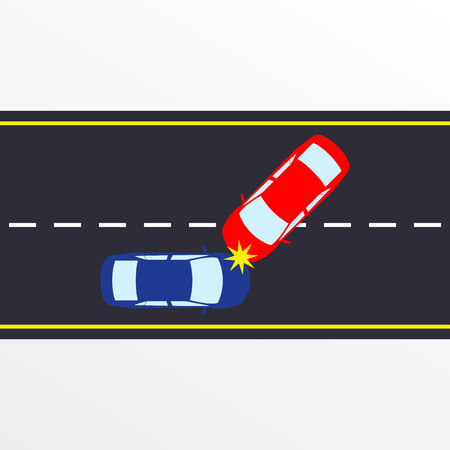 Car accident on the road. Two car crashes on the highway. Vector illustration.  イラスト・ベクター素材
