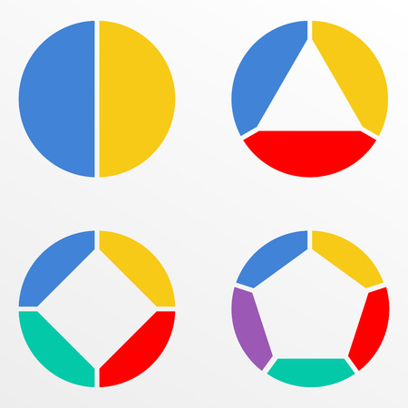 Circular chart set. Pie diagram template. Circle infographics concept with 2,3,4,5 steps, parts, levels or options. Colorful vector illustration.