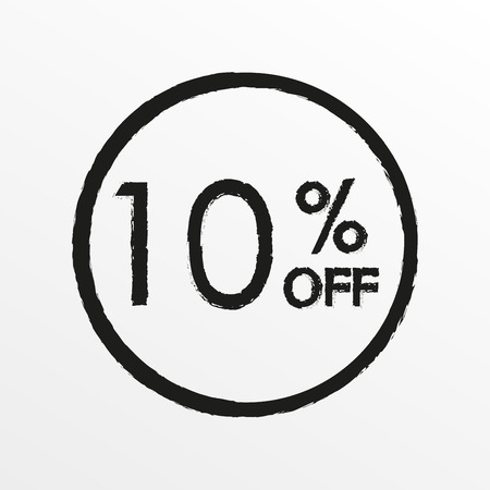 10% off. Sale and discount price icon. Sales tag design template. Vector illustration.
