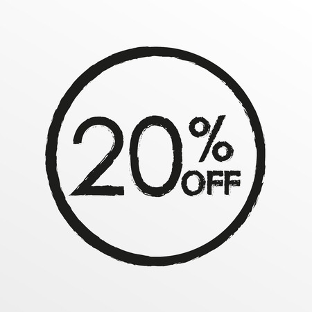 20% off. Sale and discount price icon. Sales tag design template. Vector illustration.  イラスト・ベクター素材
