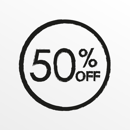 50% off. Sale and discount price icon. Sales tag design template. Vector illustration.