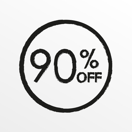 90% off. Sale and discount price icon. Sales tag design template. Vector illustration.  イラスト・ベクター素材