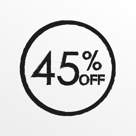 45% off. Sale and discount price icon. Sales tag design template. Vector illustration.