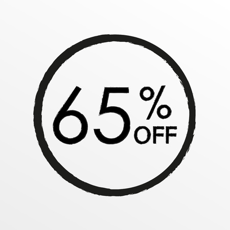 65% off. Sale and discount price icon. Sales tag design template. Vector illustration.