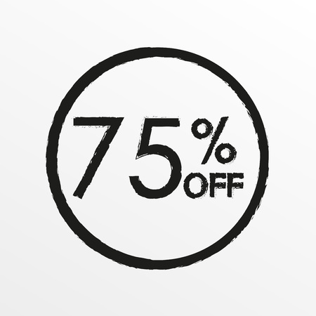 75% off. Sale and discount price icon. Sales tag design template. Vector illustration.