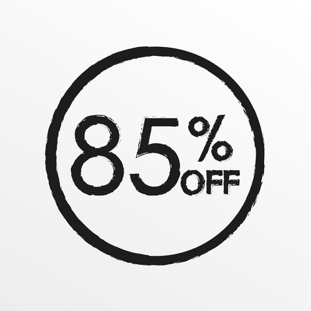 85% off. Sale and discount price icon. Sales tag design template. Vector illustration.