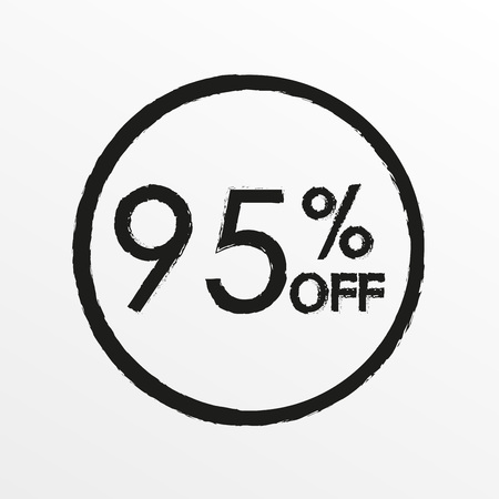 95% off. Sale and discount price icon. Sales tag design template. Vector illustration.  イラスト・ベクター素材