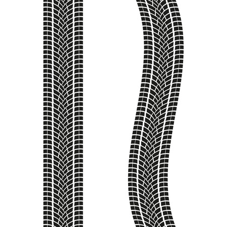 Tire treads isolated on white background. Tire print pattern. Vector illustration.