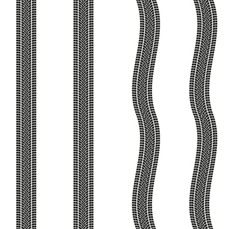 Tire treads isolated on white background. Tyre print pattern. Vector illustration.  イラスト・ベクター素材