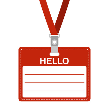 Name tag with Hello. ID card, badge or access card with lanyard. Vector illustration.