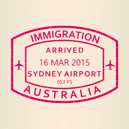 Sydney arrival stamp from passport. Australia airport travel stamp. Vector illustration. Illustration