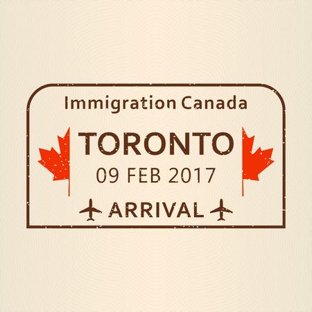 Toronto passport stamp. 向量圖像