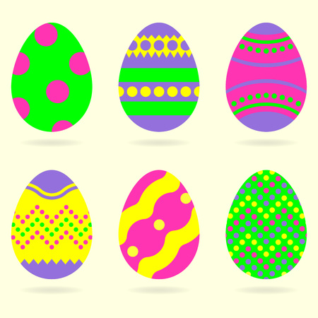 Easter eggs icon set. Colorful eggs for Easter celebration. Vector illustration.