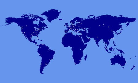 World map with city lights. Blue Earth map with glowing dots. Vector illustration.